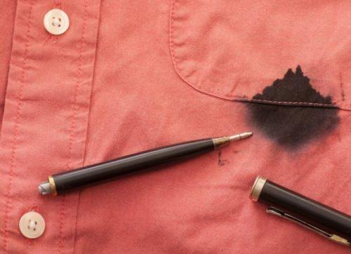 Пятно от гелевой ручки