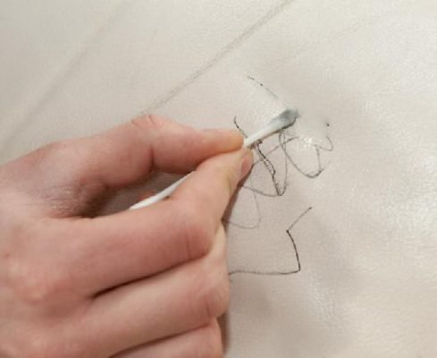 Пятно ручки на кожзаме