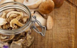 Как и где можно хранить сушеные грибы